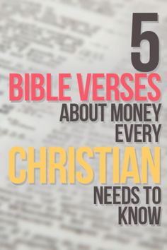5 Bible Verses about Money Every Christian Should Know http://christianpf.com/5-bible-verses-about-money-every-christian-should-know/