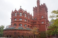 University of Pennsylvania's Anne and Jerome Fisher Fine Arts Library, red brick gothic designed by architect Frank Furness, 1890s, Philadelphia, PA, USA