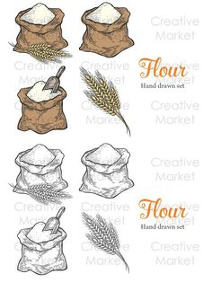 Sack with whole flour or sugar with ear wheat, scoop. Vintage black vector engraving illustration set for label, web, flayer bakery Game Design, Logo Design, Food Art Painting, Recipe Drawing, Glass Pantry Door, Engraving Illustration, Food Packaging Design, Kitchen Art, Storyboard