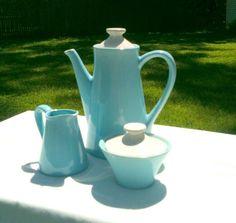 Retro Coffee Pot Creamer and Sugar Bowl Set in Aqua by APatriot, $45.00