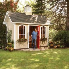 "How to Build a Cheap Storage Shed/Playhouse. ok now where's the pin ""How to convince your husband to build you a Cheap Storage Shed/Playhouse"" Cheap Storage Sheds, Shed Storage, Diy Storage, Backyard Storage, Outdoor Storage, Smart Storage, Outdoor Spaces, Outdoor Living, Outdoor Sheds"