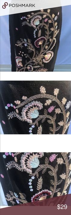 Richard Malcolm size 12  black skirt embroidered Richard Malcolm size 12  Women black elaborated multicolor embroidery skirt 55% linen 45% rayon waist 15.5 inches a little over 28 inches in length Lined Top Back zipper Richard Malcom Skirts A-Line or Full