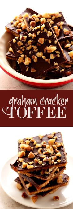 Graham Cracker Toffee Bark - you need only 5 ingredients to make this fantastic treat! Chocolate, toffee and nuts over graham crackers - this can't be easier!