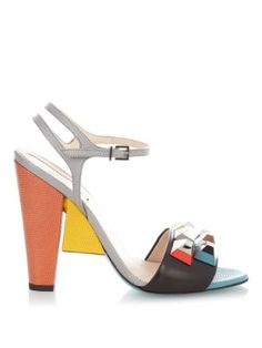 Rainbow stud-embellished block-heel sandals | Fendi | MATCHESFASHION.COM