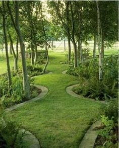 trees planted to the front of borders creates a more intimate journey down the path