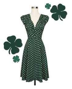 The 1940's Dress in Irish Polka is one of my new favorite frocks! Not only is this print perfect for St. Paddy's Day, but it's also so easy to accessorize and wear all year round.