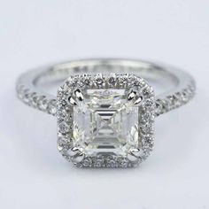 Check out this stunning Petite Halo Carat Asscher Diamond Engagement Ring! Asher Cut Engagement Rings, Engagement Ring Images, Gemstone Engagement Rings, Buy Diamond Ring, Halo Diamond, Verragio Wedding Bands, Jewelry Rings, Jewelery, Halo 2