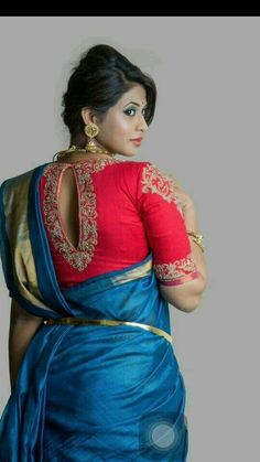 Looking for stylish blouse designs for sarees? Here are 40 chic blouse models with fancy neck and sleeve designs that you can wear with any saree. Blouse Designs High Neck, Best Blouse Designs, Bridal Blouse Designs, Saree Blouse Designs, Blouse Styles, Blouse Patterns, Stylish Blouse Design, Blouse Models, Fancy Sarees