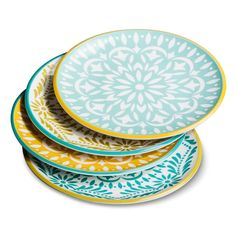 Mudhut Multi-colored Mosaic Design Salad Plate Set of 4 - Blue/Gold