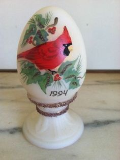 FENTON ART GLASS WHITE FROSTED EGG NUMBER LIMITED EDITION FROM 1994