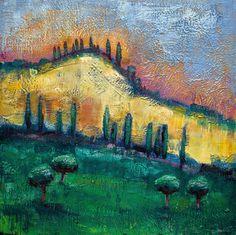 Tuscan Hills I Large Encaustic Wax by MoniqueKenSarkessian on Etsy