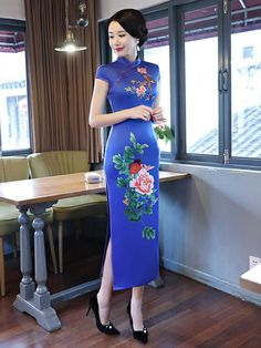 (We have provided this item's measurements to help you decide which size to buy.) (Units/Inches) Size Bust Waist Shoulder Hips Length M L 15 XL XXL XXXL (Units/Centimeters) Size Bust Waist Shoulder Hi Oriental Dress, Oriental Fashion, Asian Fashion, Chinese Gown, Wedding Gowns Online, Cheongsam Dress, Blue Peonies, Traditional Dresses, China