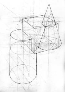 Maquette Architecture, Origami Architecture, Basic Drawing, Technical Drawing, Elements And Principles, Elements Of Art, Geometric Drawing, Geometric Shapes, Kawaii Drawings