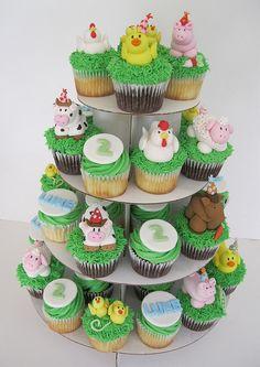 Barnyard Birthday Party Cupcake Tower
