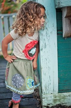 Patchwork Circles Skirt // Girls Olive Skirt with by MaggieBogart, $42.00