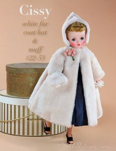 Cissy MIB white fur coat, hat and muff_ #22-53