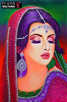 """Colorful painting of an Indian bride. Portrait 'Sweet Surrender' on canvas (59.1"""" x 39.4""""). Amazing mixed-media artwork. 100% handcrafted colorful painting!"""