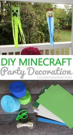 These DIY Minecraft party decoration windsocks are SO COOL and so easy to make! … These DIY Minecraft party decoration windsocks are SO COOL and so easy to make! What a great idea for a Minecraft birthday party. Minecraft Party Decorations, Birthday Party Decorations, Minecraft Party Games, Minecraft Activities, Graduation Decorations, Party Themes, Birthday Party Games, 6th Birthday Parties, 7th Birthday