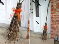 """Don't have a lot of money to spend on Halloween decorations this year? Just use what you got. Gather up some sticks from the yard and tape around the sticks. Add a cute touch by tying ribbon.   You could make several stick brooms and place by the door along with a sign that says, """"Witch parking, all violators will be 'toad'!"""""""