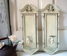 Antique White Vintage Candle Holder Sconces by WillowsEndCottage, $52.00