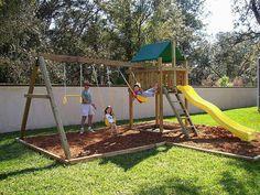 Sets fort Pathfinder Swing Set / Fort Kit & Plans - EASY to build Plans Backyard Swing Sets, Backyard Playset, Diy Swing, Backyard For Kids, Outdoor Swing Sets, Wooden Swing Set Plans, Wood Swing Sets, Wooden Swings, Build A Swing Set