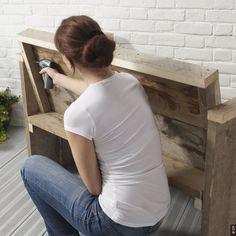 Fauteuil en bois de palette maison cour terrasse pinterest pallets - Fabriquer un fauteuil en bois de palette ...