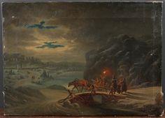 "CLAUDE JOSEPH VERNET. Hans efterföljare. Slädtur i ottan, olja på duk, monogramsignerad ""CRF"", 1800-tal."