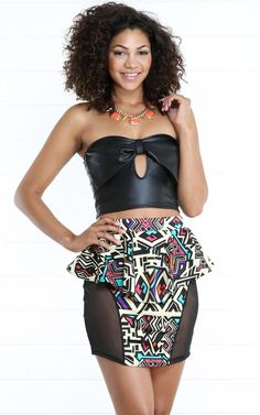 Leatherette Bow Tube Top BLACK Plus Size Fashion, High Fashion, Tube Top Outfits, 2 Piece Outfits, Girls Night Out, These Girls, Boho Shorts, Black Tops, Short Dresses