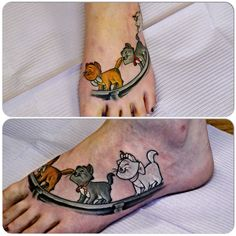 Custom Aristocats Tattoo By Joshua Doyon (IG:@InkedUpGing)