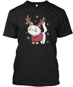 Ugly Christmas Sweater Cat Reindeer Black T-Shirt Front