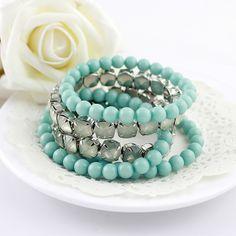 Blue Multilayer Bead Diamond Bracelet