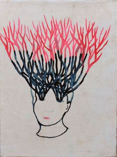 Alexandra Duprez / Homme branche / 2011 / Huile sur toile / 35 x 41