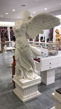 Nike of Samothrace, the winged Nike statue, Greek white marble, Greek antiquity replica - Hellas Art by SiloArtFactory Greek Antiquity, Greek History, Recycled Art, Ancient Greece, White Marble, Metal Working, Sculptures, Wings, Statue