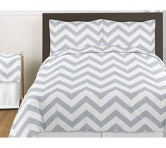 GRAY WHITE CHEVRON ZIGZAG QUEEN SIZE BED IN A BAG COMFORTER SET BEDDING ENSEMBLE
