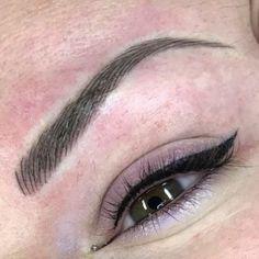 Beautiful eyebrows and eyeliner make-up, sem-permanent