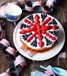 If I can get my hands on some blueberries (gonna be tricky!) we can decorate the top like we did last year for the jubilee! :)
