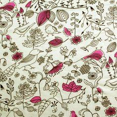 Bird Doodles Yellow Cotton Jersey Blend Knit Fabric
