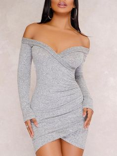 Solid Off Shoulder Wrpped Slinky Bodycon Dress