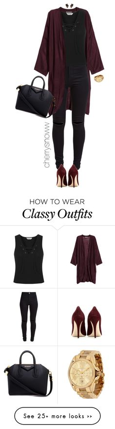 """Classy chic black and burgundy fall outfit"" by cherrysnoww on Polyvore featuring H&M, New Look, Miu Miu, Miss Selfridge, Givenchy, Michael Kors and Nak Armstrong"