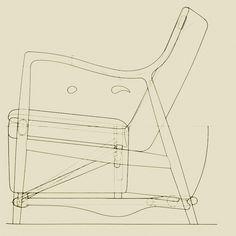 45 Chair drawing of Finn Juhl (Furniture Designs Poster)
