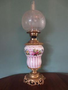 AN ANTIQUE VICTORIAN(C1860)CERAMIC HAND PAINTED OIL LAMP-FINE ETCHED GLOBE SHADE in Antiques, Antique Furniture, Lamps | eBay