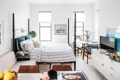 I Lived in a 280-Square-Foot Apartment for a Year—This Is What I Learned via @MyDomaine - Copper Real Good Stools and Dang Media Stand by Blu Dot.