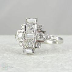 Art Deco Diamond Dinner Ring. Large Diamond Cocktail Ring in White Gold, Circa 1940s.