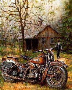 David Uhl Harley-Davidson painting.