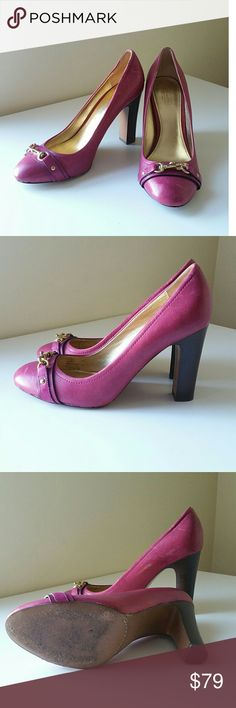 Coach 9.5 Block Heel Shoes Heels Purple Pumps Used just a couple of times, I don't wear heels anymore :( Very comfy block heel. Fuchsia purple color leather, gold hardware. Some minor surface scuffs feom storage, will go away with shoe polish.  Size 9.5 US. Coach Shoes Heels