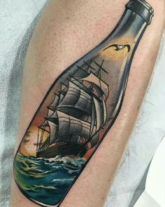 Revolt tattoos - ship in a bottle