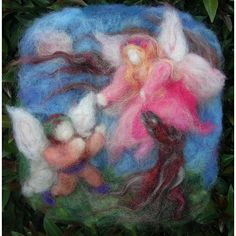 Fairies Courting by Moonlight - Waldorf Inspired Needle Felted Tapestry / Painting
