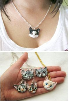 Cat Portrait Necklace or Brooch Portrait of your by FlowerLandShop