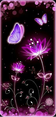 #piorapata Neon Wallpaper, Butterfly Wallpaper, Butterfly Art, Wallpaper Keren, Wallpaper Backgrounds, Iphone Wallpaper, Purple Backgrounds, Neon Flowers, Butterfly Pictures
