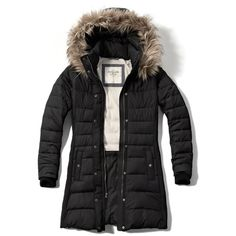 Abercrombie & Fitch Hooded Puffer Parka ($108) ❤ liked on Polyvore featuring outerwear, coats, black, water resistant coat, hooded puffer coat, puffa coat, black puffer coat and hooded parka